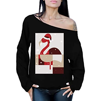 Awkward Styles Christmas Flamingo Off Shoulder Sweatshirt Xmas Flamingo Sweater at Amazon Women's Clothing store