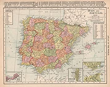 España y Portugal. Ceuta. Estrecho de Gibraltar. Iberia. Rand McNally 1912 - Mapa Antiguo Antiguo Vintage, mapas Impresos de Iberia: Amazon.es: Hogar