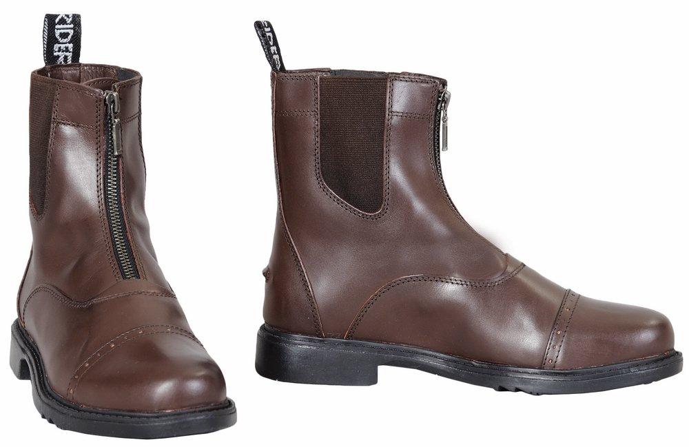 TuffRider Children's Baroque Front Zip Paddock Boots with Metal Zipper, Mocha, 13