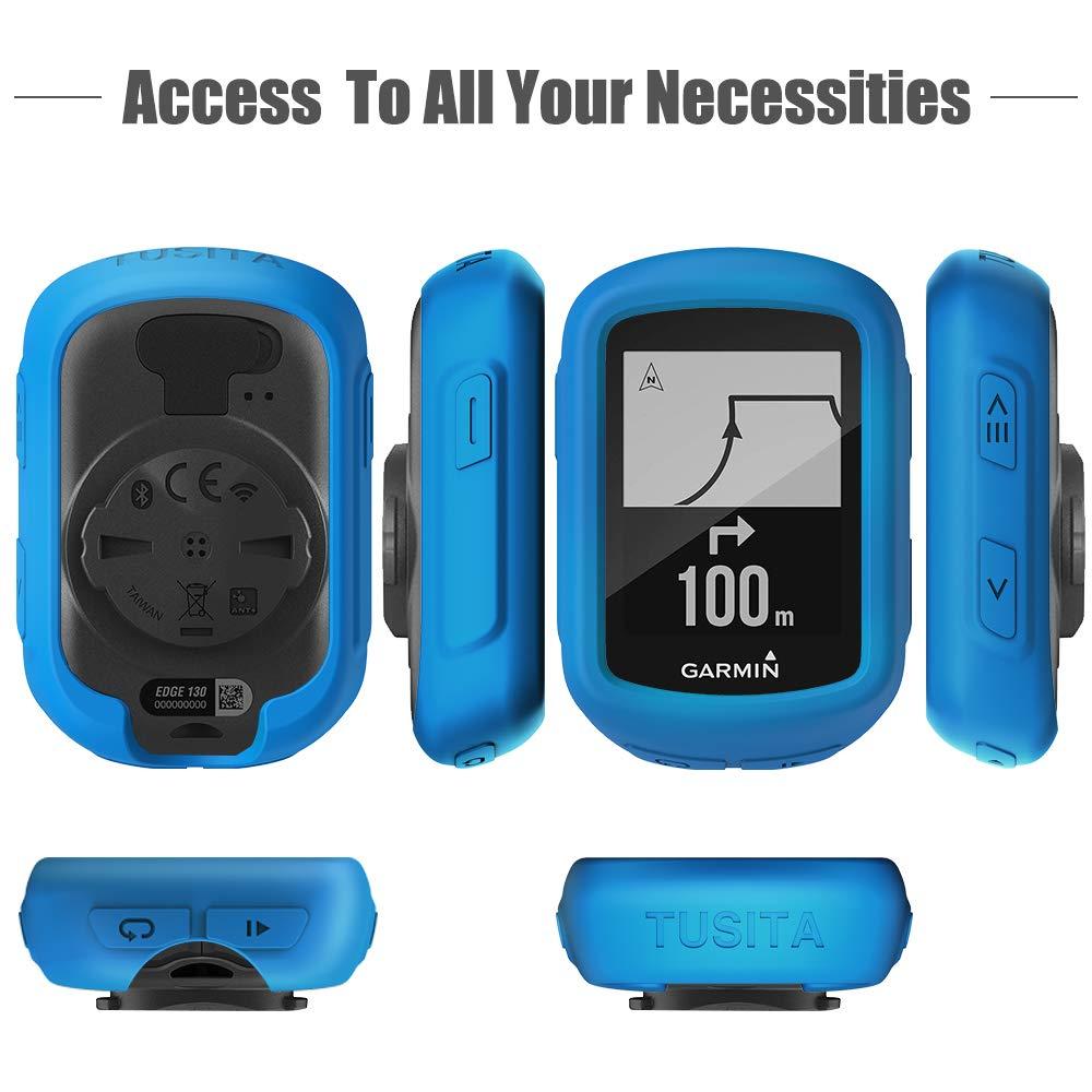 Red GPS Bike Computer Accessories TUSITA Case for Garmin Edge 130 GPS Silicone Protective Cover Skin