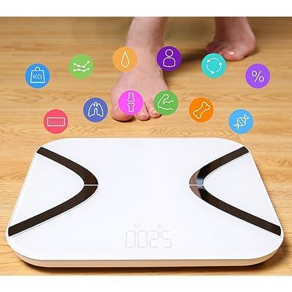Báscula de Baño Digital - Mini Báscula de Baño con Análisis Corporal de 12 Funciones,