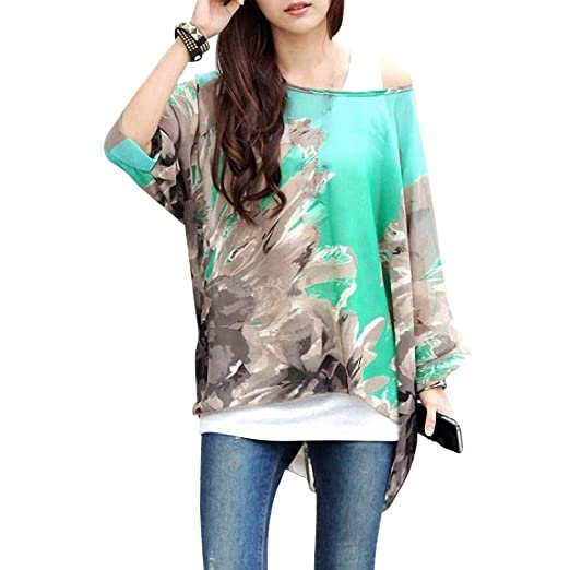 a8f00bd27f1c88 iecool Women s Sexy Bohemian Hippie Batwing Sleeve Chiffon Blouse Loose Off  Shoulder Shirt Top One Size