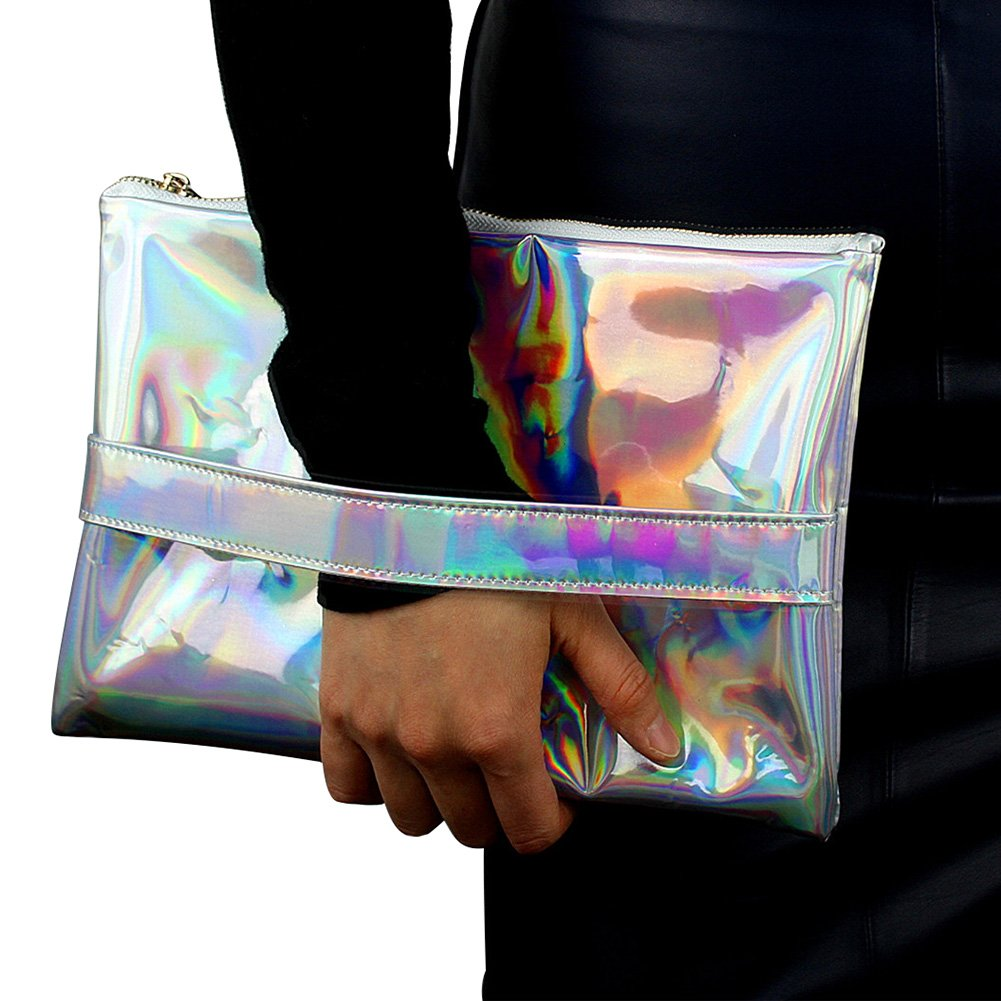 Mogor Women's Hologram Anti Wrinkle Pu Leather Handbag Clutch for iPad