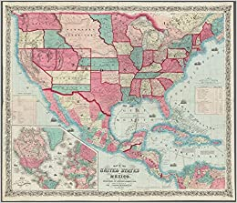 1859 map of the united states and mexico wall map