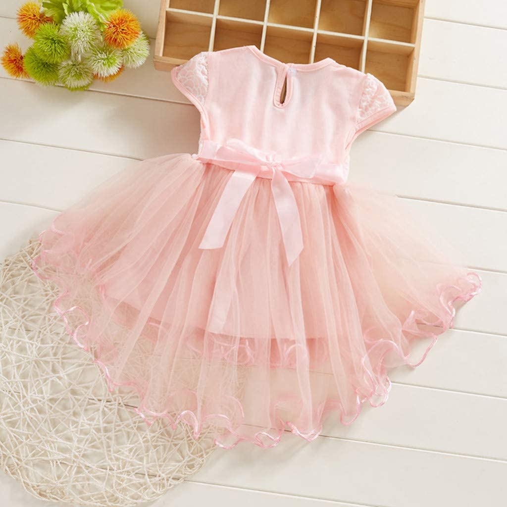 Toddler Baby Kids Girls Flowers Floral Ruched Tulle Mini Dress Princess Dress Wedding Dress Summer Clothes 0-2 Years Baby Girls Dress