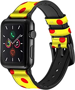 CA0812 Red Spot Polka Dot Leather & Silicone Smart Watch Band Strap for Apple Watch iWatch Size 38mm/40mm