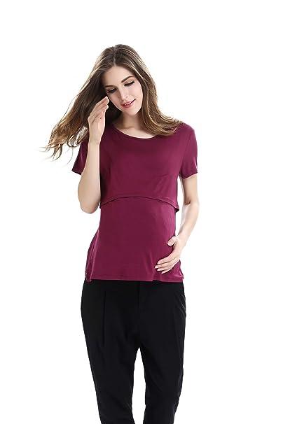 UTOVME Mujeres Camiseta de Lactancia Premam/á Camisa de Maternidad Ropa de Enfermer/ía Rayado de Mangas Largas