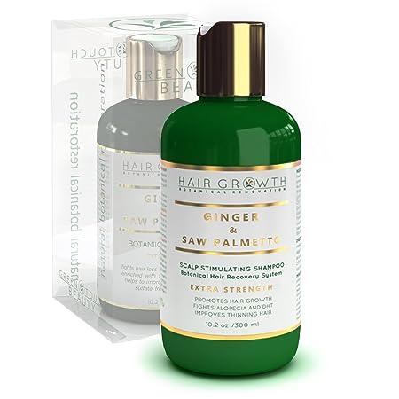 Hair Growth Shampoo Step 2 Ginger – Saw Palmetto Lab Formulated Anti-Hair Loss Botanical DHT Blocker and Alopecia Prevention 10.2 Oz.