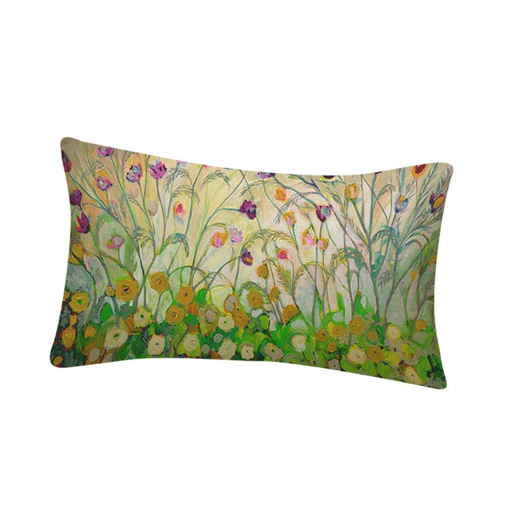 Rectangle Flower Printing Pillow Cover - Sofa Bed Home Decoration Festival Pillow Case Cushion Cover Pillowcase Gift (C)