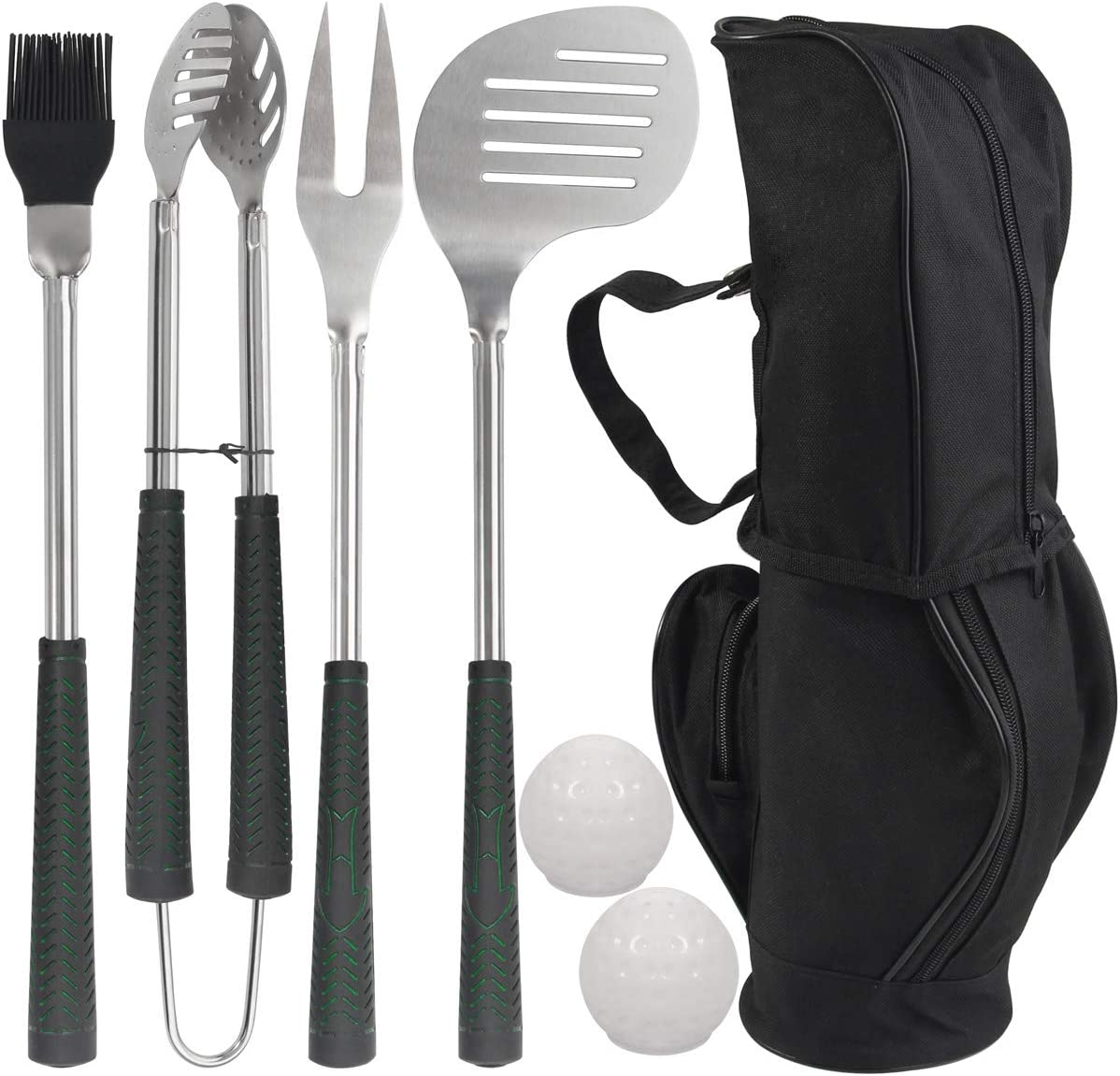 POLIGO 7pcs Golf-Club Style Grilling Accessories Set with Rubber Handle - Stainless Steel BBQ Tools in Bag for Camping - Premium Grill Utensils Kit Present Ideal Fathers Day Birthday Gifts for Men Dad