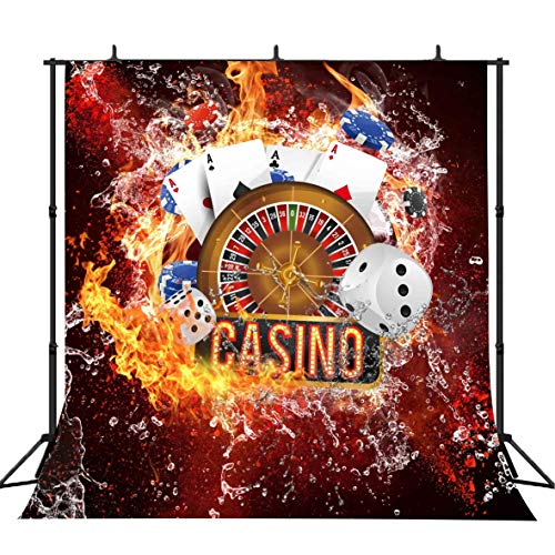 FLASIY 10x10ft Casino Themed Photography Backdrops Poker Dice Chip Flame Background Video Studio Photo Shooting Props LYAY229 ()