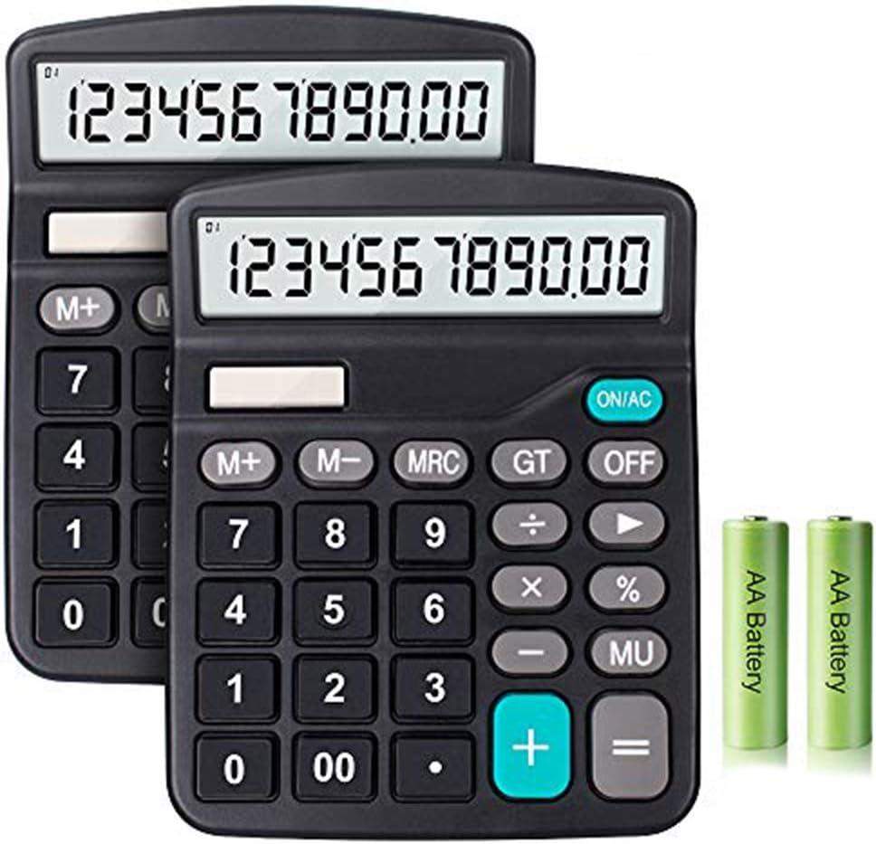 Schwarz Solarbatterie Dual Power B/ürorechner Taschenrechner Deli Standardfunktion Desktop Basic Taschenrechner mit 12-stelligem gro/ßem LCD-Display