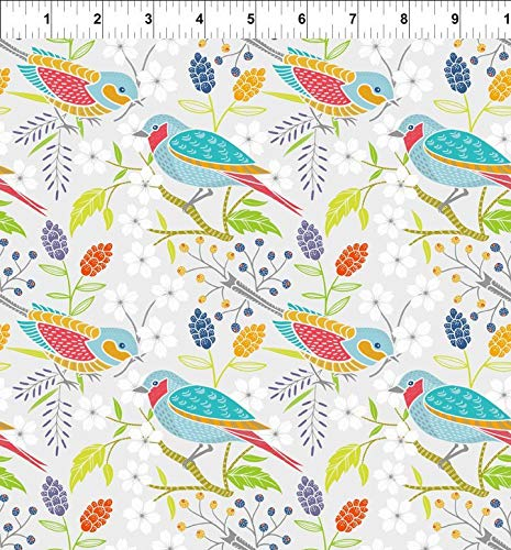 Doodle Blossoms~Birds Cotton Fabric by In the Beginning Fabrics