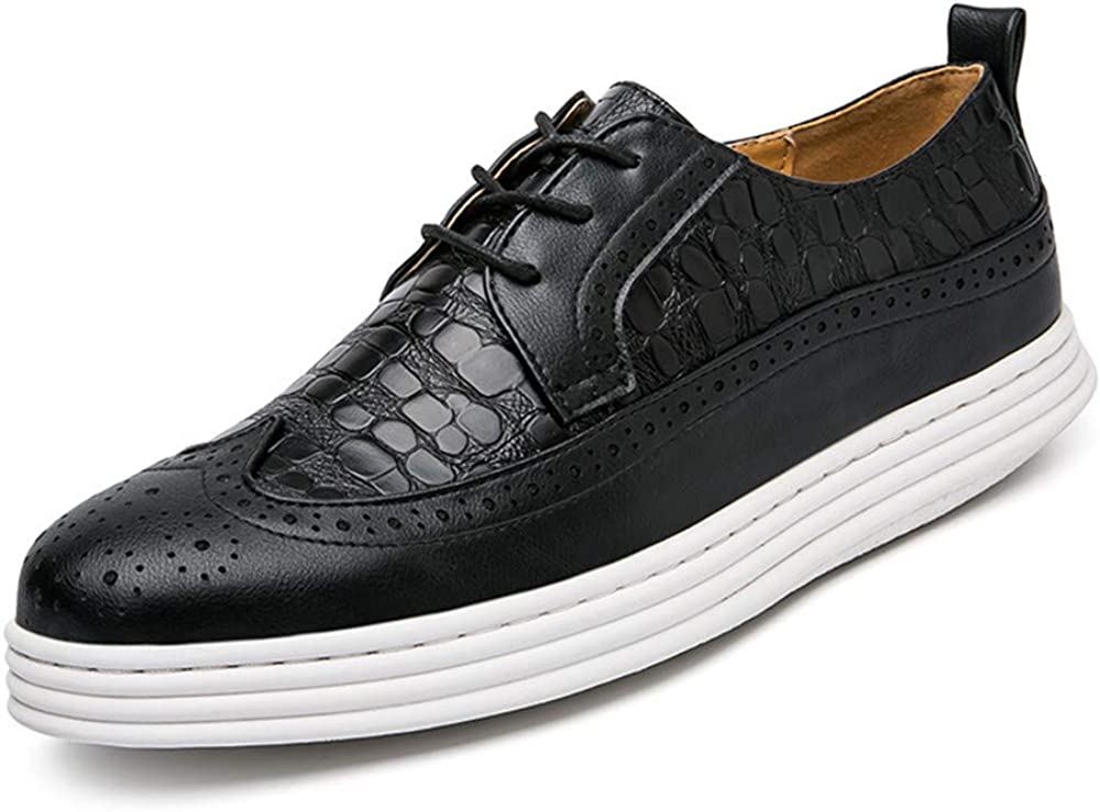 US CHENDX Shoes M Color : Black, Size : 7 D Mens Fashion Breathable Thick Bottom Oxford Casual Crocodile Height Classic Brogue Shoes