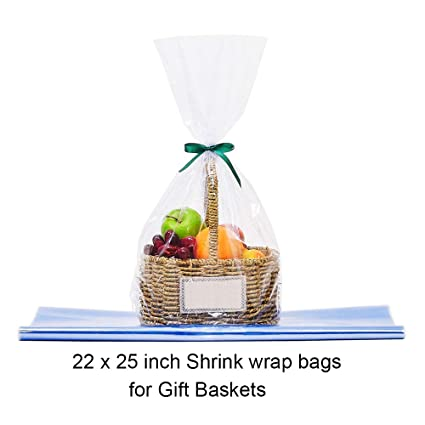 Lazyme Clear Basket Cellophane Wrap Bags Shrink Bags For Gift Basket 22x25 Inch 10 Pack