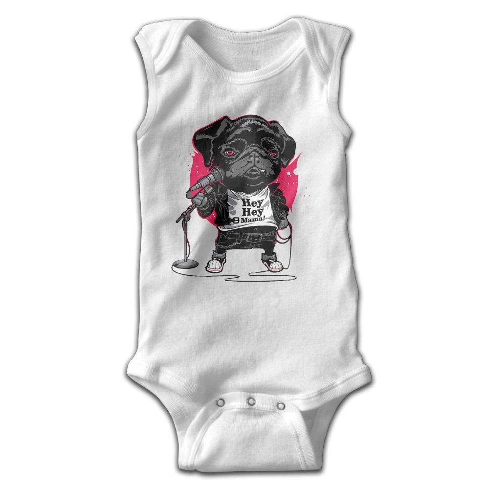 A Singing Puppy Baby Sleeveless Bodysuits Unisex Cute Lap Shoulder Onesies