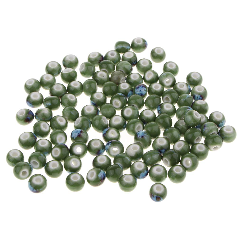 8mm 100Pcs Large Hole Loose Charms Ceramic Porcelain Loose Beads fits Bracelet Macrame Necklaces Jewelry Makings Crafts Earrings White and Green