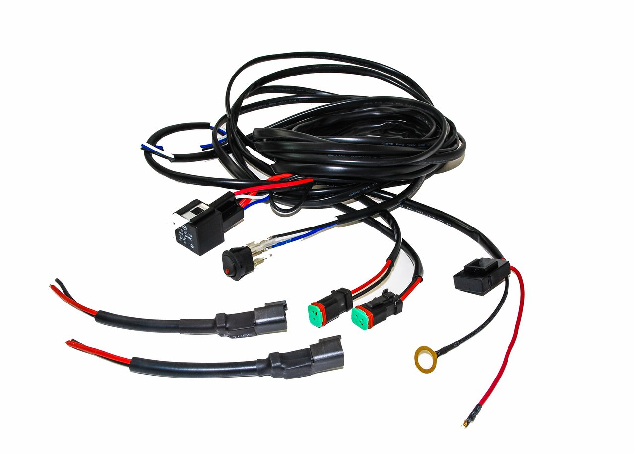 oz usa 16 awg double dt plug wiring harness kit with dc 12v 40a relay, 20a fuse, lighted on off switch  usa wiring harness #7