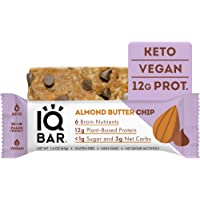 IQBAR Brain + Body Protein Bars, Almond Butter Chip, Keto, Vegan, Paleo Friendly, Low Sugar, Low Net Carb, High Fiber, Gluten Free, No Sugar Alcohols, 12 Count