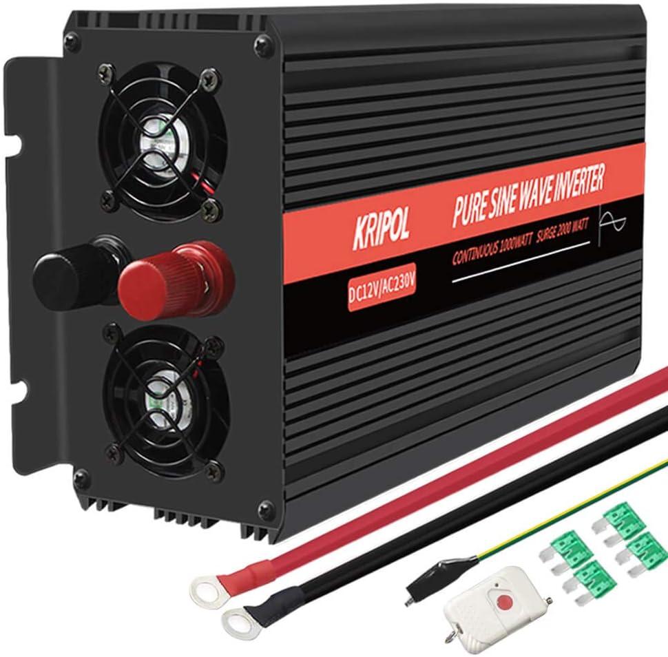 KRIPOL Inversor de Onda sinusoidal Pura 1000//2000W de Corriente 12V DC 220//230V AC Inversor Corriente de Coche con 1 Salida de AC y 1 Salida USB 2.1AH-Control Remoto inal/ámbrico y Pantalla LED
