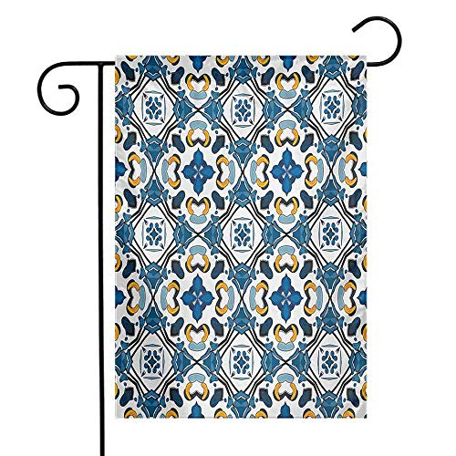 Mannwarehouse European Garden Flag Portuguese Ceramic Classic Tilework Building Artisan European Inspired Image Print Premium Material W12 x L18 Royal Blue