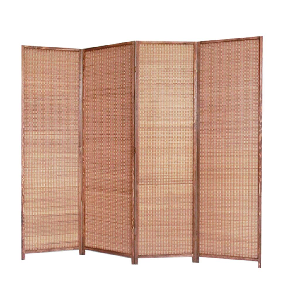 Even Privacy Screen Portable Folding,Bamboo Screen Partition,Decorative Freestanding Woven Bamboo 4 Panel,Household Wood Screen, Folding Mobile Screen Office,Room Divider by Room Screen