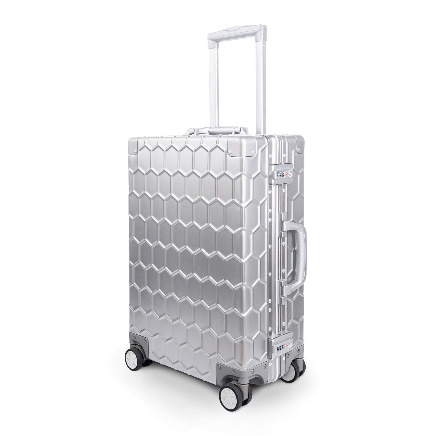 Travelking All Aluminum Carry On Luggage Hard Shell Metal Suitcase with TSA Lock Spinner Wheels New Arrival Silver, 20 Inch