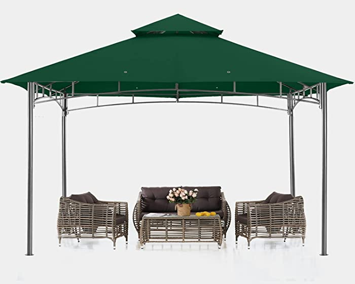 ABCCANOPY 10x10 Patio Gazebos for Patios Double Roof Soft Canopy Garden Backyard Gazebo for Shade and Rain, Forest Green