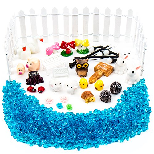 Best Fairy Garden Accessories & Supplies Starter Kit, Great Value with Pond Pebbles plus BONUS