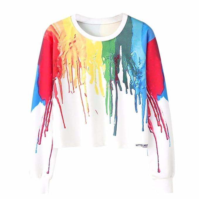 Amlaiworld mode Mehrfarbiger Farbdruck Kurz pulli Langarmshirts ...