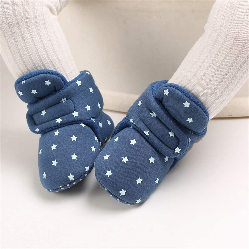 E-FAK Newborn Baby Cozy Fleece Booties with Grippers Winter Slippers Socks Soft Sole Stay On Infant First Walker Crib Shoes