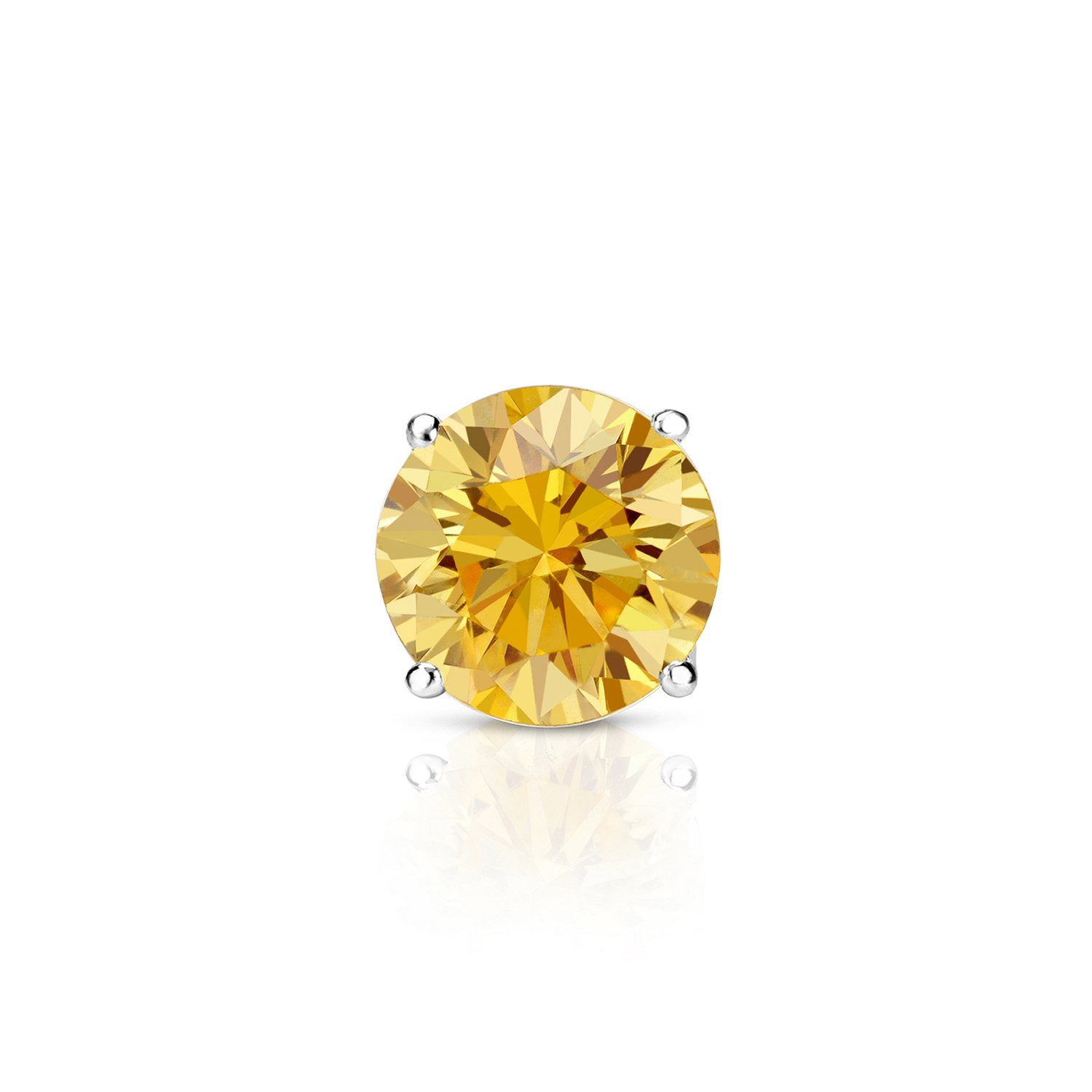 14k White Gold Round Yellow Diamond 4-Prong Basket SINGLE STUD Earring (1/2 ct, Yellow, I1-I2)