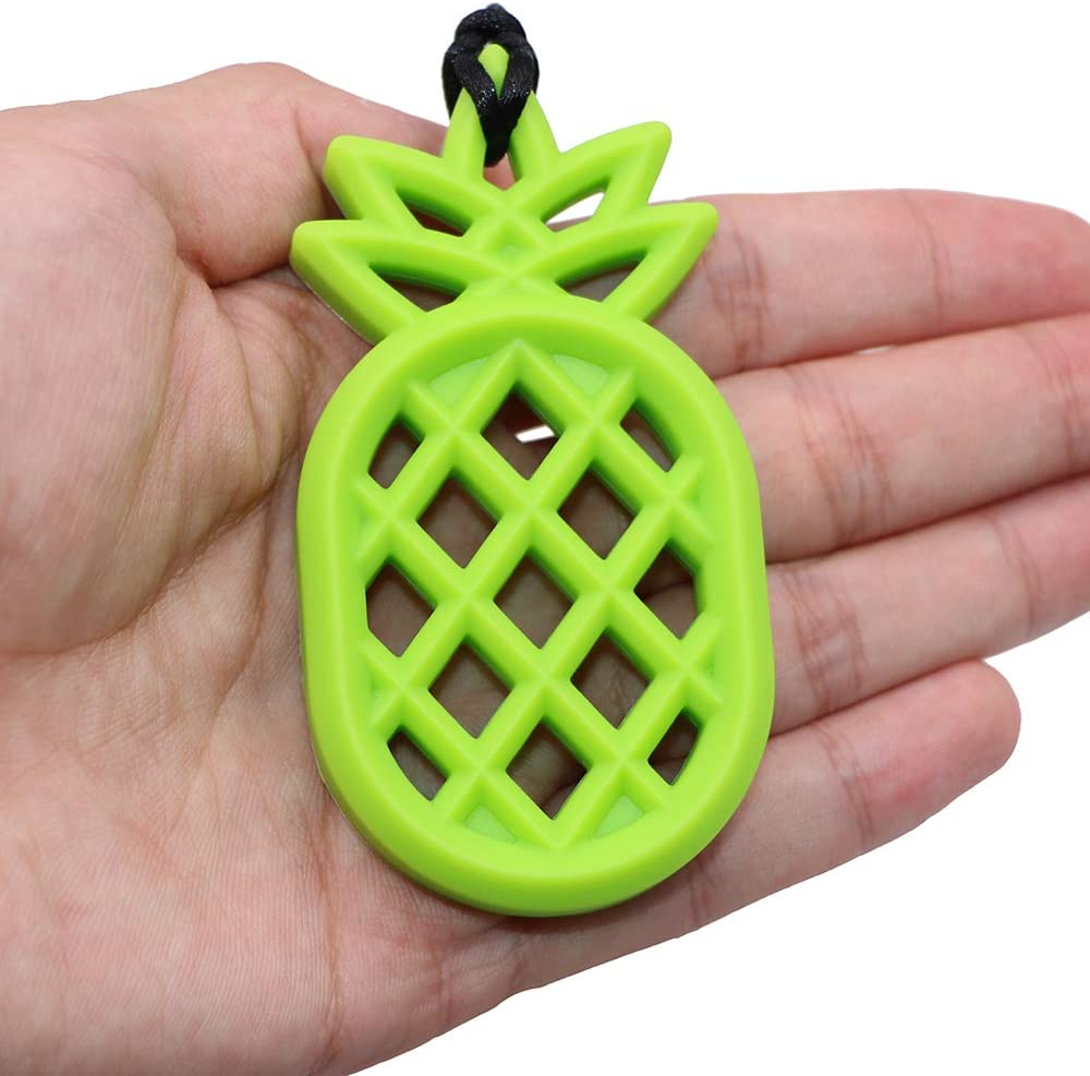 Silicone Teether Toys for Baby Teething ADHD Sensory Chew Necklace for Kids Boys or Girls Biting Chewable Pendant for Autism Oral Motor Chewy Pineapple Teether Toys Nursing SPD