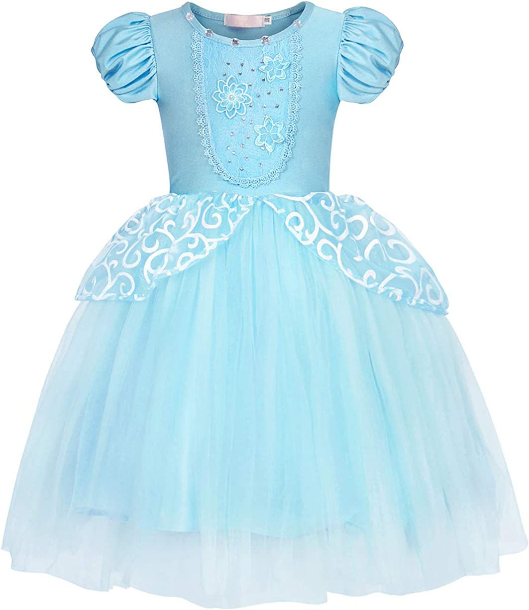 HenzWorld Girls Dresses Costume Outfits Princess Birthday Party Cosplay Tutu Skirt Blue Little Kids 2-12 Years