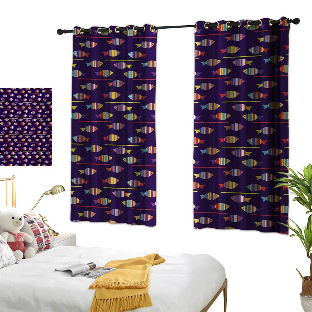 Luckyee Thermal Insulating Blackout Curtain,Fish,63  x 63 ,Rainbow Patterned Aquatic Creatures Silhouettes and Stripes Marine Fauna Aquarium,Suitable for Bedroom Living Room Study, etc.