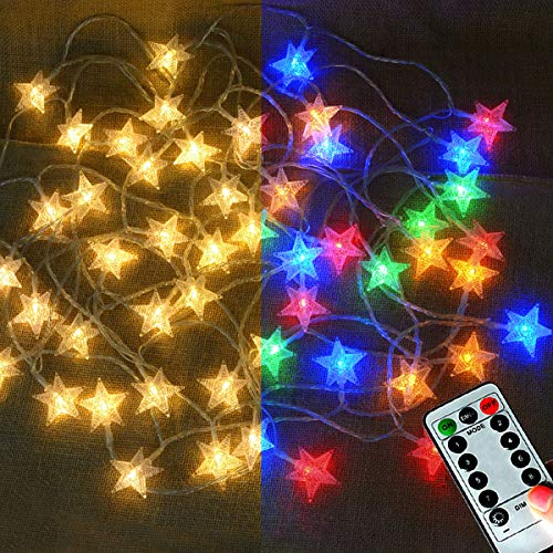 LAMPDREAM 33Ft 50LEDs Star Fairy Lights Battery Operated, 8 Molds Warm White Multicolored LED String Lights with Remote for Christmas, Wedding, Birthday, Halloween, Mother Day ()