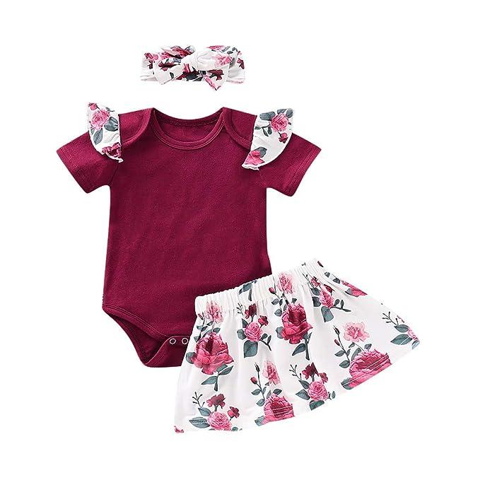 Amazon.com: 3 piezas de ropa de bebé niña trajes de bebé ...