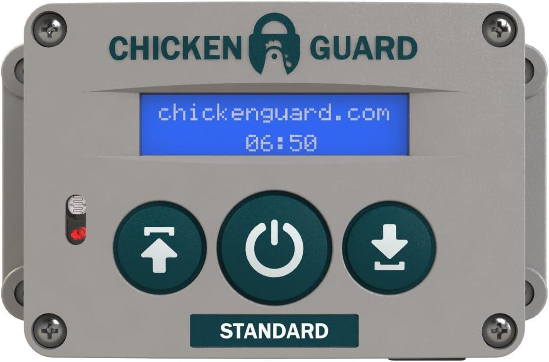 ChickenGuard Automatic Chicken Coop Door Openers, 3 Models, Timer Light Sensor, Lift up to 4kg Pop Hole Door, Batteries or Mains Power. Standard