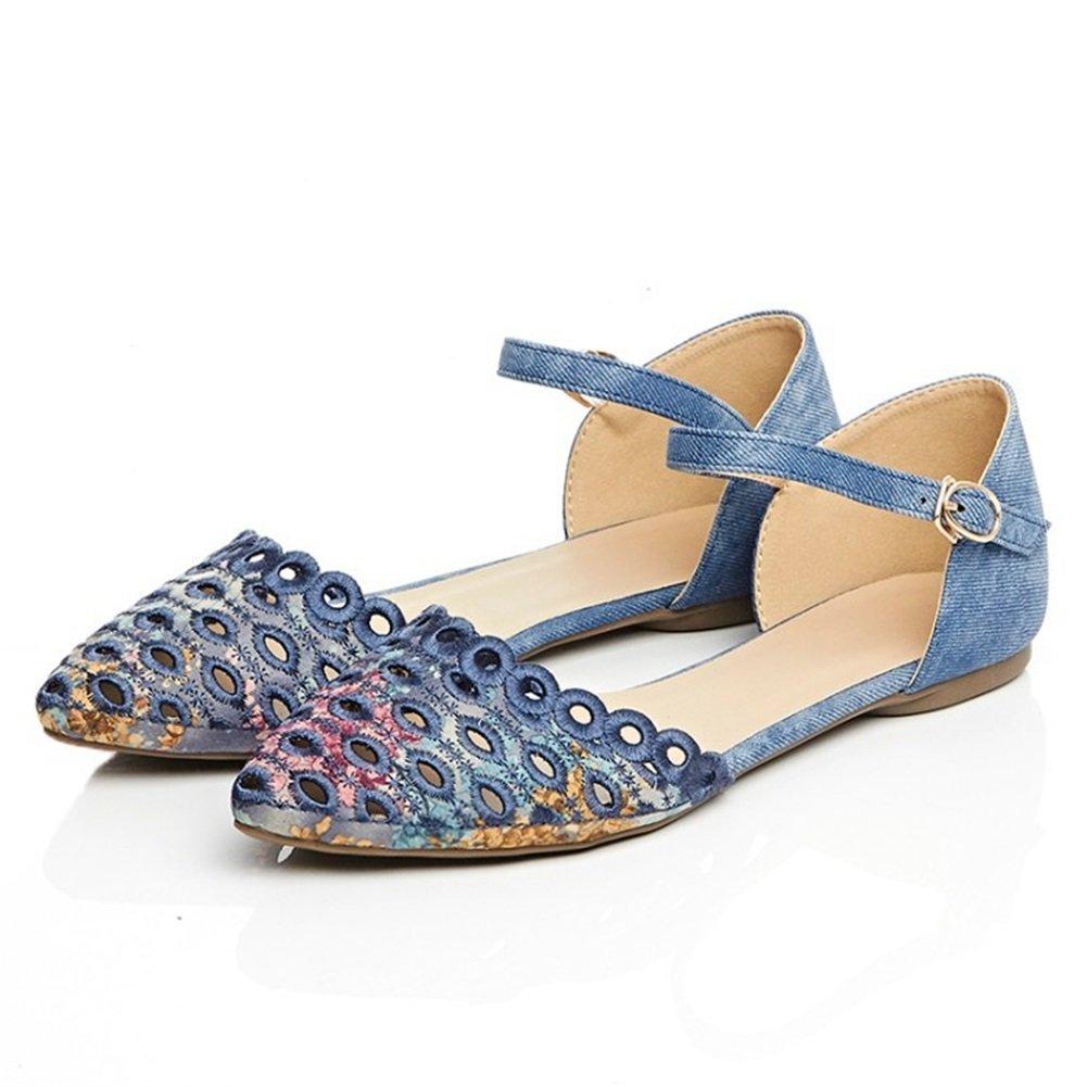 Damenschuhe 2018 New Spring Summer Büro Comfort Sandale Runde Zehe Flache Ferse für Büro Summer im Freien Täglich Blau Aprikose Grau 0fd23a