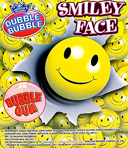 Dubble Bubble Smiley Face Gumballs 1 Pound + Bonus Mystery Stickers Included (Twizzler Cake)