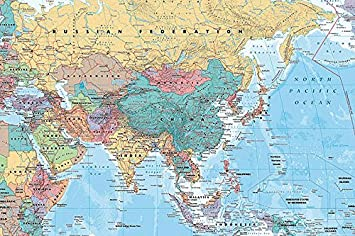 Politica Cartina Geografica Medio Oriente.Poster Mappa Di Asia E Medio Oriente 91 5 Cm X 61 Cm Confezione Regalo Amazon It Casa E Cucina
