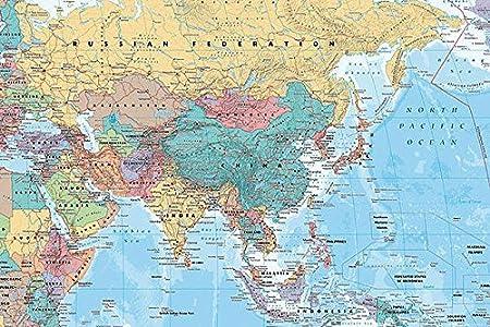 Cartina Geopolitica Medio Oriente.Poster Mappa Di Asia E Medio Oriente 91 5 Cm X 61 Cm Confezione Regalo Amazon It Casa E Cucina