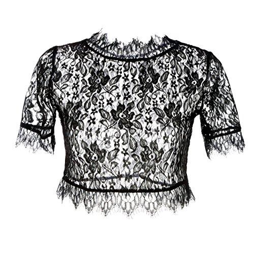 FINEJO Ladies Close Fitting V-Neck Slim Body Long Sleeved T-shirt Blouse Top Black L