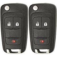 Keyless2Go Replacement Keyless Remote 3 Button Flip Car Key Fob For OHT01060512 (2 Pack)