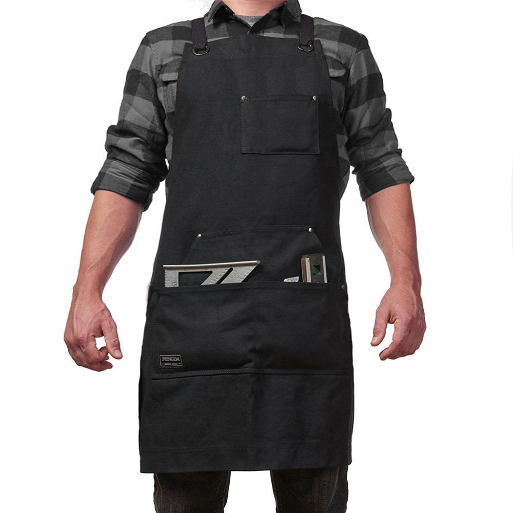Work Apron with Tool Pockets for Men and Women Heavy Duty Waxed Canvas Tool Apron Adjustable M to XXL