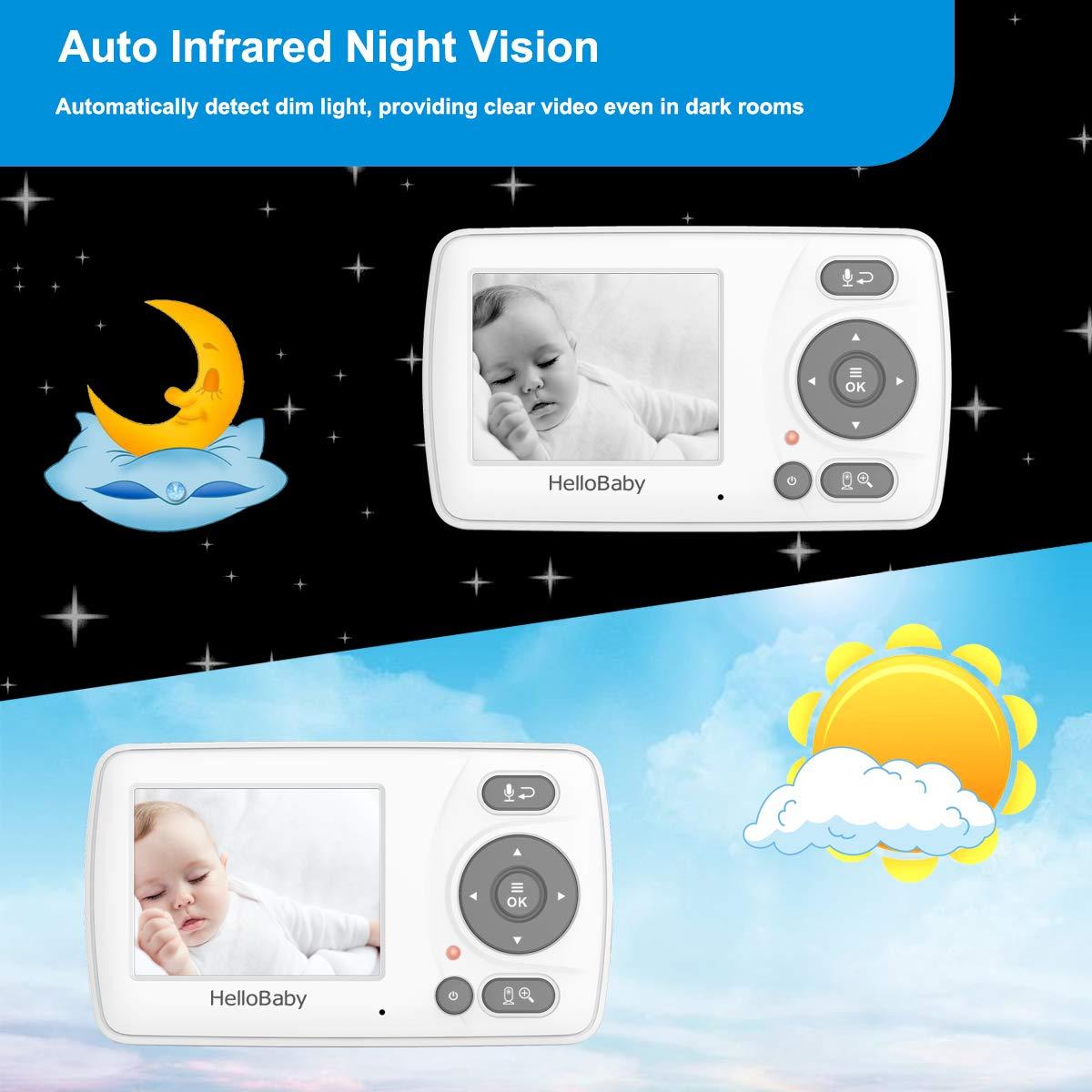 bidirektionalem Talk-Back Bildschirm Temperaturerkennung Schlafliedern Gro/ßer Reichweite Privatem Datenschutz und Hochleistungsbatterie HelloBaby HB30 Video Babyphone mit Infrarot Nachtsichtkamera