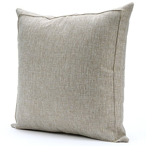 Jepeak Burlap Linen Throw Pillow Case Cushion Cover Farmhouse Decorative Solid Square Pillowcase, Thick Luxury Handmade with Invisible Zipper for Sofa Couch (20 x 20 Inches, Beige with Khaki Threads) by Jepeak