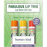 Human+Kind Lip Balm Trio - Orange, Vanilla, and Raspberry - Moisturize, Soften, and Smooth Dry, Chapped Lips - Vitamin E-rich Formula is Perfect for Sensitive Skin - Natural, Vegan Skin Care - 3-Pack