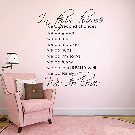 Vinyl Wall Art Words Decals Custom Stickers Love Family In Our Home We Say Grace
