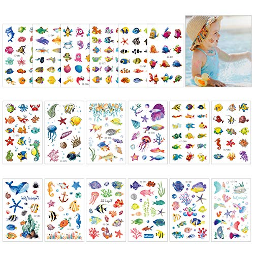 Cieovo 18 Sheets Ocean Temporary Tattoos for Kids - Tropical Ocean Fish, Starfish, Whale Tattoo Body Stickers Cartoon Tattoos Sticker Great for Boy Girl Birthday Party Decorations Supplies Favors -